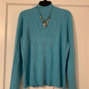 Sag Harbor Turquoise Mock Neck Sweater